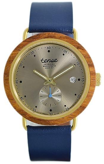 TENSE//La Madera Reloj – Hudson Leather Hybrid Madera de Teca – Esfera Plateada