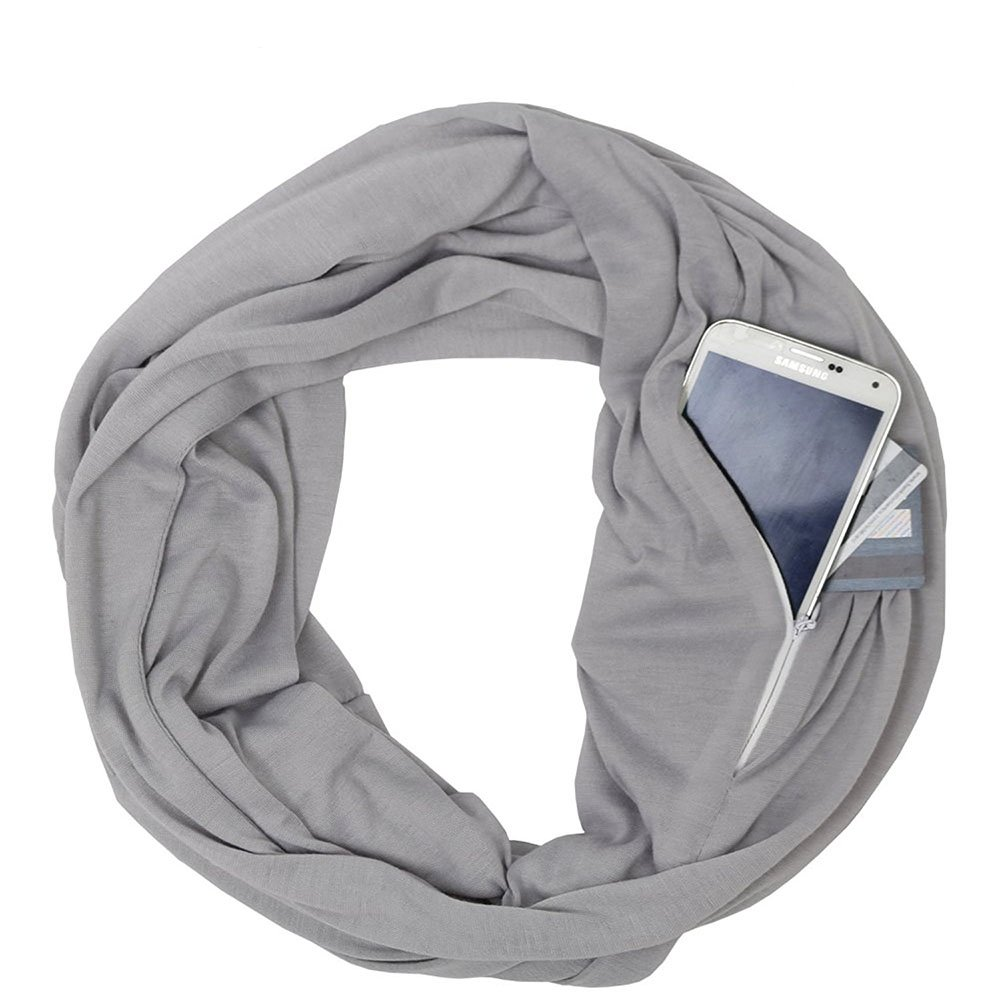 Heth Womens Solid Color Infinity Fashion Scarves Wrap White Zipper Pocket,Travel Scarf