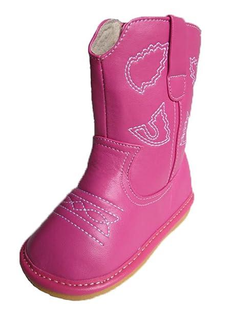 Amazon.com: Squeaky Zapatos bebé Hot Pink piel Cowboy/Botas ...