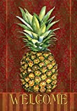 Toland Home Garden Pineapple Damask 28 x 40 Inch Decorative Classic Welcome Fruit Design House Flag