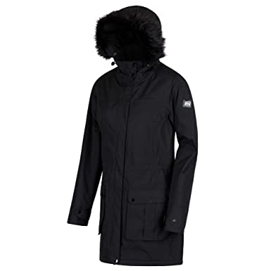 19523e0c5a4 Regatta Women's Sherlyn Waterproof And Thermoguard Insulated Faux Fur Hooded  Jacket, Black, ...