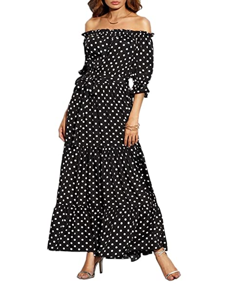 17cf8221420 Aofur Chiffon Dress Boat Neck Strapless Polka Dot Women Summer Boho Long  Cocktail Beach Sundress Maxi