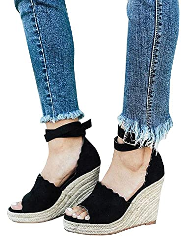 0a3ac5007ee Womens Open Toe Platform Espadrille Wedge Heel Sandals with Ankle Strap  Scalloped Shoes Black