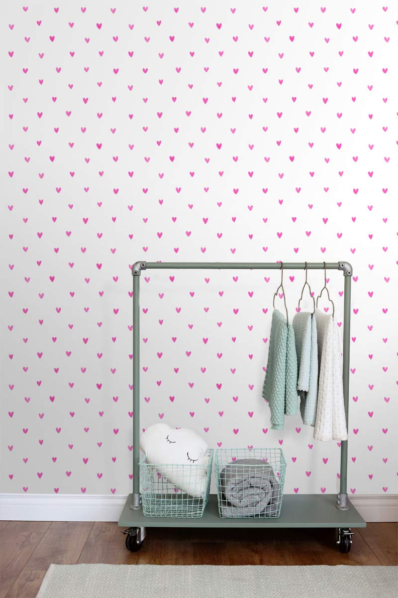 138866 papel pintado corazones rosa caramelo de ESTAhome.nl