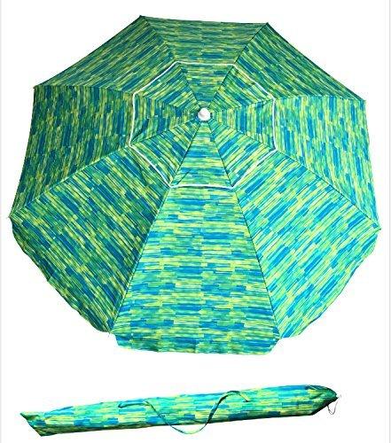 SueSport Sand Anchor 7 feet Beach Umbrella with Tilt and Telescoping Pole by SueSport