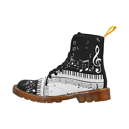 Shoes Music Note Piano Keyboard Lace Up Martin Boots For Women