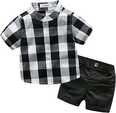 Xinwcang 2pcs Ropa Niños Bebé Lindo Camisa Cuadros Tops + ...