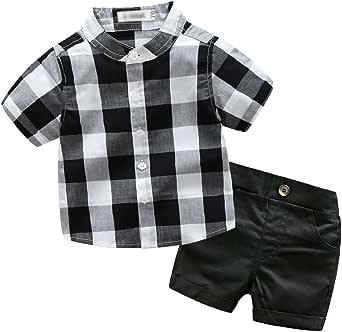 Xinwcang 2pcs Ropa Niños Bebé Lindo Camisa Cuadros Tops + Pantalones Cortos Trajes Conjunto para Niño