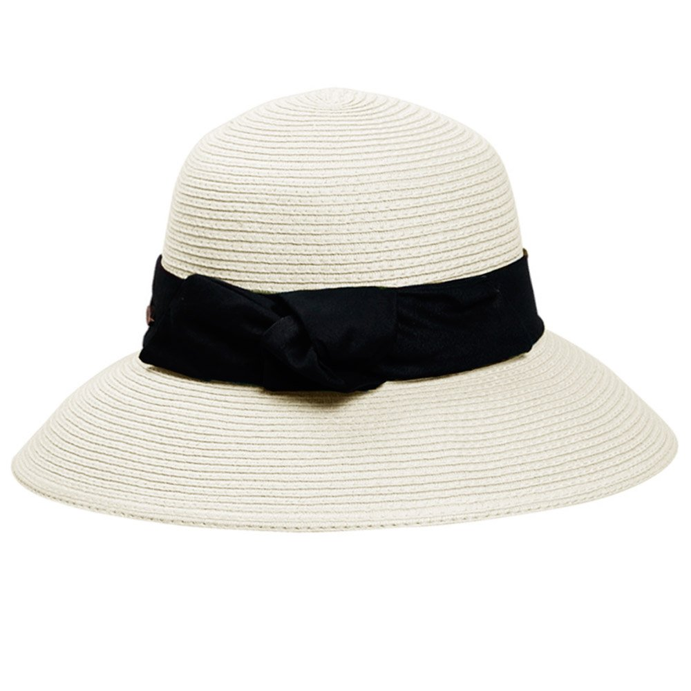 Women Ladies Bowknot Ribbon Wide Brim Foldable Straw Sun Visor Hat Beach Travel Straw Hat Cap with Sweatband Removable String Closure Beige Gosear