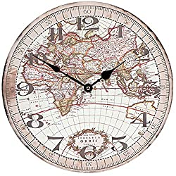 Serendipity Old Fashioned Vintage World Map Wall Clock, MDF Wood, 13 inch, Large, Brown