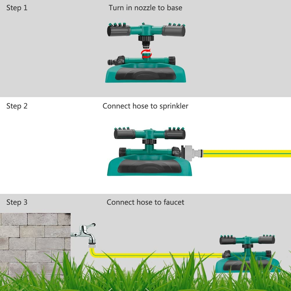 Coquimbo Arroseur automatique darrosage de jardin Arroseur de pelouse rotatif /à 360 degr/és pour pelouse cour jardin