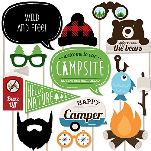 Big Dot of Happiness Happy Camper - Camping Photo Booth Props Kit - 20 Count -