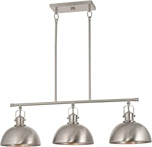 """Kira Home Belle 34"""" 3-Light Modern Industrial Kitchen Island Light, Dome Shades + Swivel Joints, Brushed Nickel Finish"""