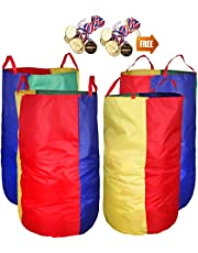"""Potato Sack Race Bags 34"""" Hx17 W(Pack of 4) with Game Prizes(12piece) for Children and Adults,, Bright Colors,No Smell, A Perfect Outdoor Game for Birthday Parties,Family Reunions"""