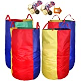 """Potato Sack Race Bags 34"""" Hx17 W(Pack of 4) with Game Prizes(12Pcs) for Children and Adults,High Quality,Bright Colors,No Smell, A Perfect Outdoor Games for Birthday Parties,Family Reunions"""