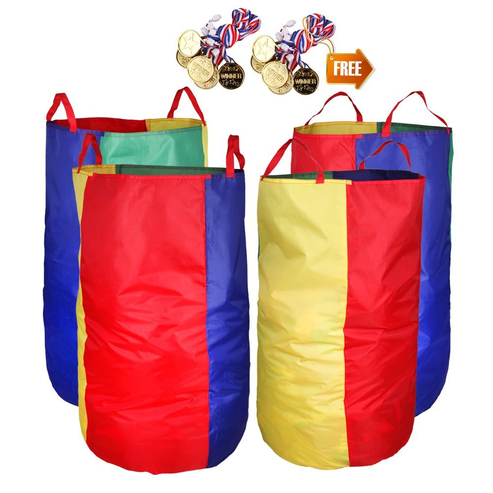 Potato Sack Race Bags 34''Hx17''W(Pack of 4) with Game Prizes(12Pcs) for Children and Adults,High Quality,Bright Colors,No Smell, A Perfect Outdoor Games for Birthday Parties,Family Reunions by CWLAKON