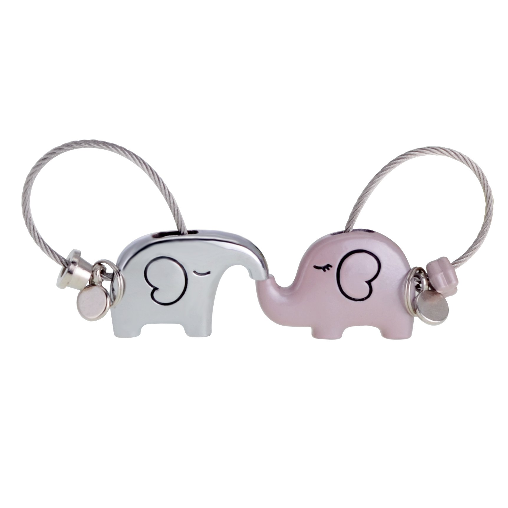ASHMITA Cute Kiss Elephant Couple Keychain for Women Charm Romantic Valentine Gift