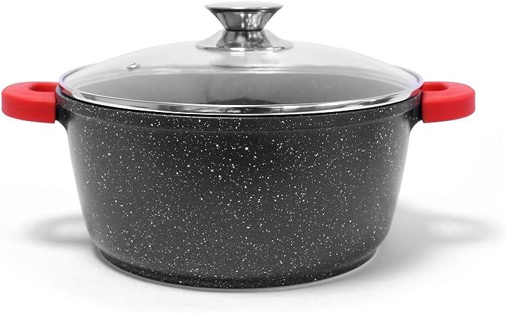 Non Stick Die Cast Deep Casserole Oven Dish Stockpot Soup Pot Pan Glass Lid 40cm