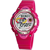 Pasnew LED Waterproof 100m Sports Digital Watch for Children Girls Boys with Three Alarms-Pink