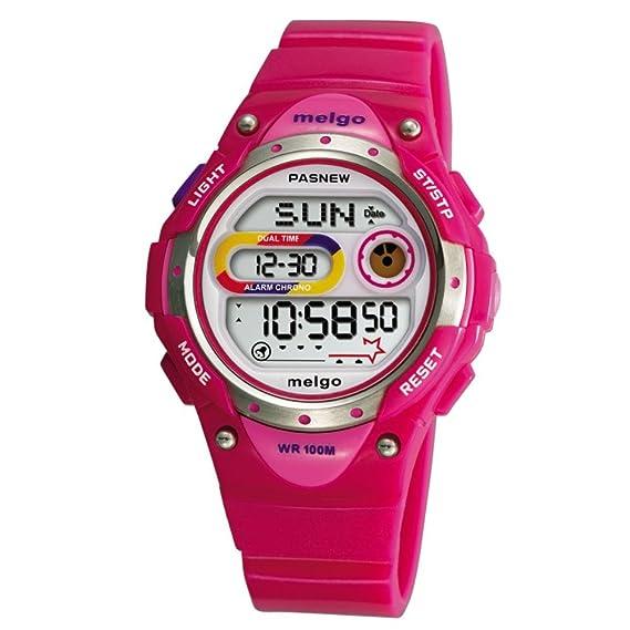 PASNEW LED resistente al agua 100 m Sports reloj Digital para niños niñas niños (rosa