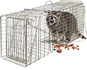 """OxGord Live Animal Trap 32"""" X 12"""" X 12"""" Catch Release Humane Rodent Cage for Rabbits, Stray Cat, Squirrel, Raccoon, Mole, Gopher, Chicken, Opossum, Skunk & Chipmunks Steel Outdoor Professional Grade"""