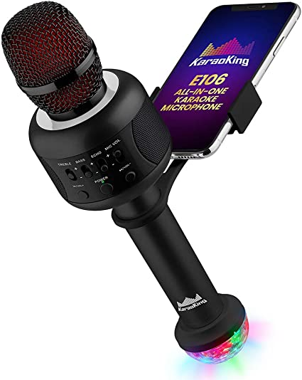 KaraoKing Karaoke Microphone - Wireless, Bluetooth Karaoke Machine for Kids  & Adults - Includes Mic with Speaker, Disco Light & Phone Holder - Perfect