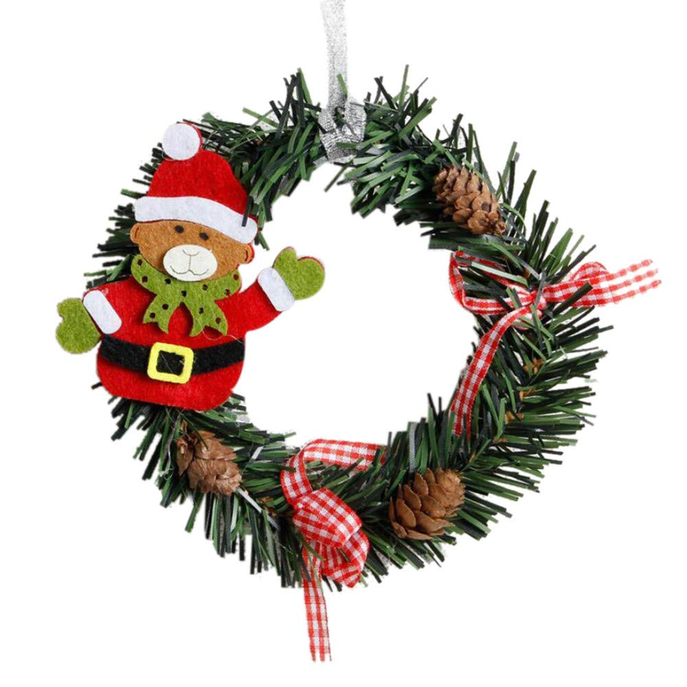 2018!!Garland Xmas Party Decor,Mini Christmas Wreath Wall Door Ornament (D)