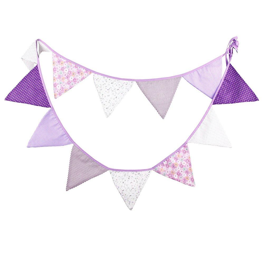 Daorier Guirlande Bannière Banderole Anniversaire en Tissu pour Enfants Bébé - Fanion Décoration pour Cérémonie Mariage Fête 3,2 mètre (Rose)