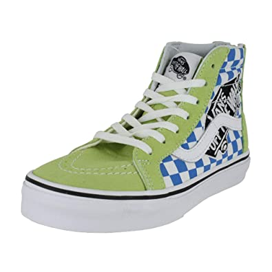 7b23dc119ece22 Vans Kids K SK8-HI Zip Patch Sharp Green True White Size 1