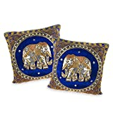 AeraVida Thai Elephant Embroidered Velvet Throw Pillow Cases Set of 2 Blue