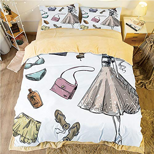 Flannel Duvet Cover Set 4-Piece Suit Warm Bedding Sets Quilt Cover for bed width 5ft Pattern Customized bedding for boys and young children,Heels and Dresses,Collection of Summer Fashion Clothing and