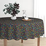 Roostery Round Tablecloth - Tetris Gaming Geek by Spacefem - Cotton Sateen Tablecloth 70in