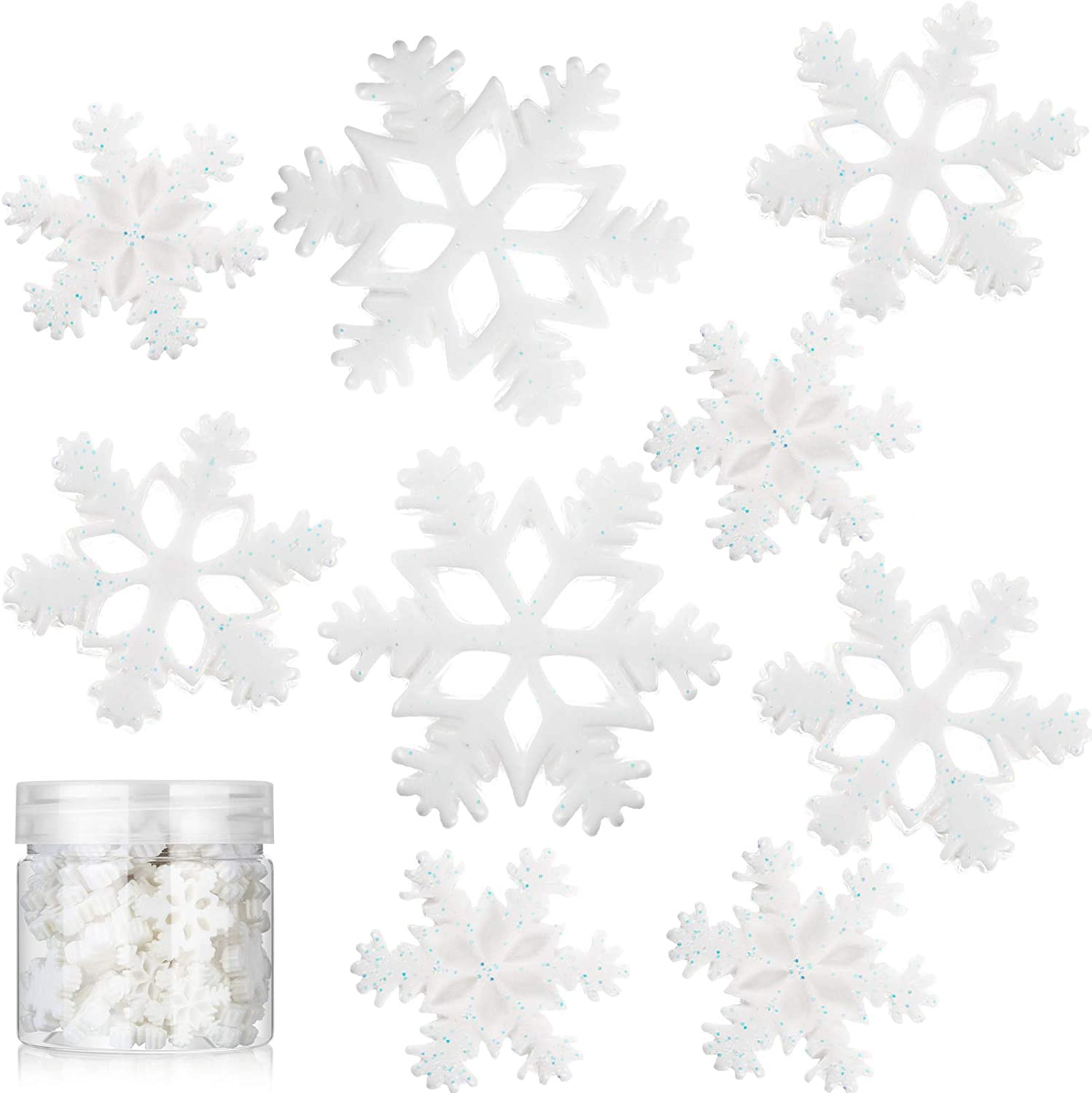50 Pieces Tiny Resin Snowflakes Decor Christmas Party Decorations Snow Shaped Craft Embellishment with Storage Box for DIY Craft Winter Party Home Decor, 3 Sizes