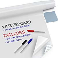 "Kassa Large Whiteboard Wall Sticker Roll - 17.3"" x 96"" (8 Feet) - 3 Dry Erase Board Markers Included - Adhesive White…"