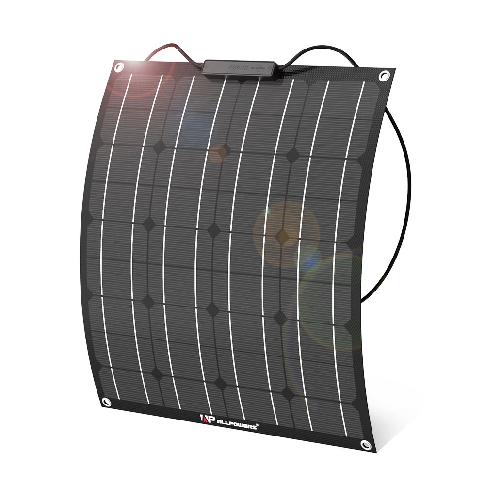 ALLPOWERS 50W 12V Flexible Solar Panel Charger Kit( with ETFE Layer, MC4 connectors)Bendable Water-resistant Solar Charger for RV, Boat, Cabin, Tent, Car, Trailer, Other Off Grid Applications