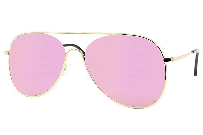 Cheapass Sonnenbrille Aviator Rosé-Gold Pilotenbrille Verspiegelt UV400 Metall Damen Frauen 0BQwq