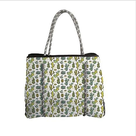 Amazon Com Iprint Neoprene Multipurpose Beach Bag Tote Bags Cactus