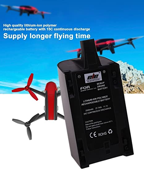 2500mAh 11 1V High Capacity Upgrade Rechargeable Battery Pack Replacement  for Parrot Bebop Drone 3 0