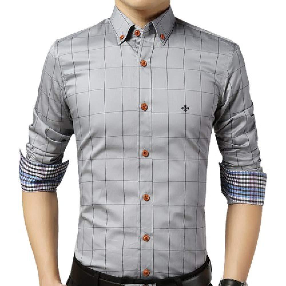 HOSD Camisa Masculina Camisa de Manga Larga para Hombre 2020 Camisa de Cuadros Ajustados de Verano Camisa Casual de Talla Grande Ropa de Hombre: Amazon.es: Ropa y accesorios