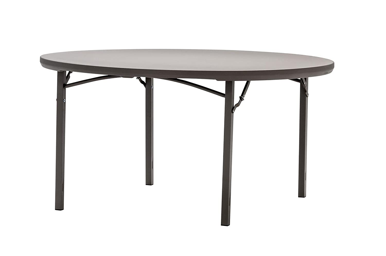 ZOWN Premium Commercial 60 5 ft Round Blow Mold Banquet Folding Table, Brown