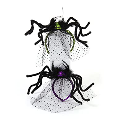 halloween costume spider headband with tulle veil 2 pack purple and green