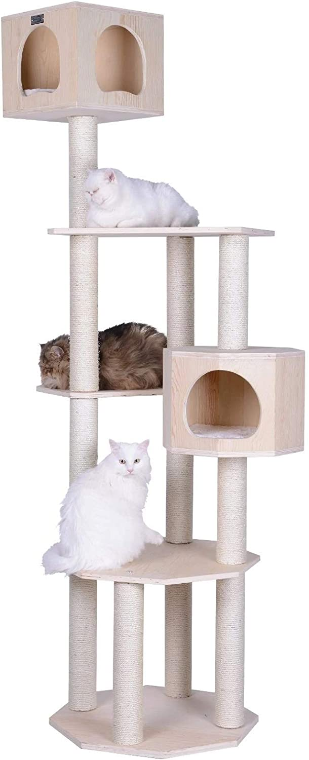 Armarkat Premium Pinus Sylvestris Wood Cat Tree Condo Scratching Post Kitty Furniture Tall Sturdy Light Wood and Sisal Rope, Pine, 36 in (S8502)