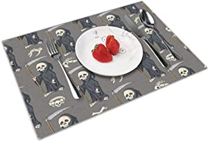 Grim Reaper Skull Scary Halloween 4 Piece Set of Placemats Pc Party Decor Dining Room Home Ornament Table Food Dishes Mat Xmas Kitchen Decorations Themed Dishware Picnic Dinnerware
