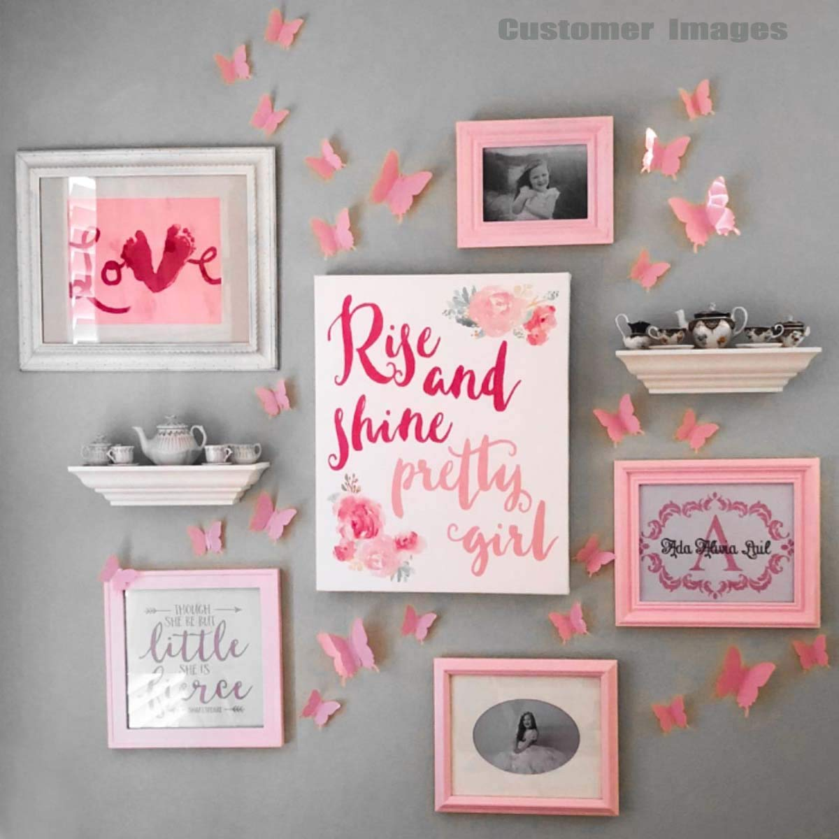 24Pcs 3D Butterfly Removable Mural Stickers Wall Stickers Decal für Zuhause und Zimmer Decoration (Pink)