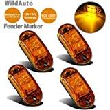"""NAT - Oval LED Side Marker & Clearance Light - Waterproof - 2 Diodes 2.5"""" 12V/24V - for Truck Trailer-4Pcs (amber)"""