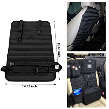 Tactical MOLLE Vehicle Panel Car Seat Cover Protector Universal Fit FIRECLUB Car Seat Back Organizer