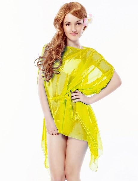 Moderno Mujer Toalla de playa Pareo playa vestido amarillo sarong Mini Bikini verano Kiama – Tamaño