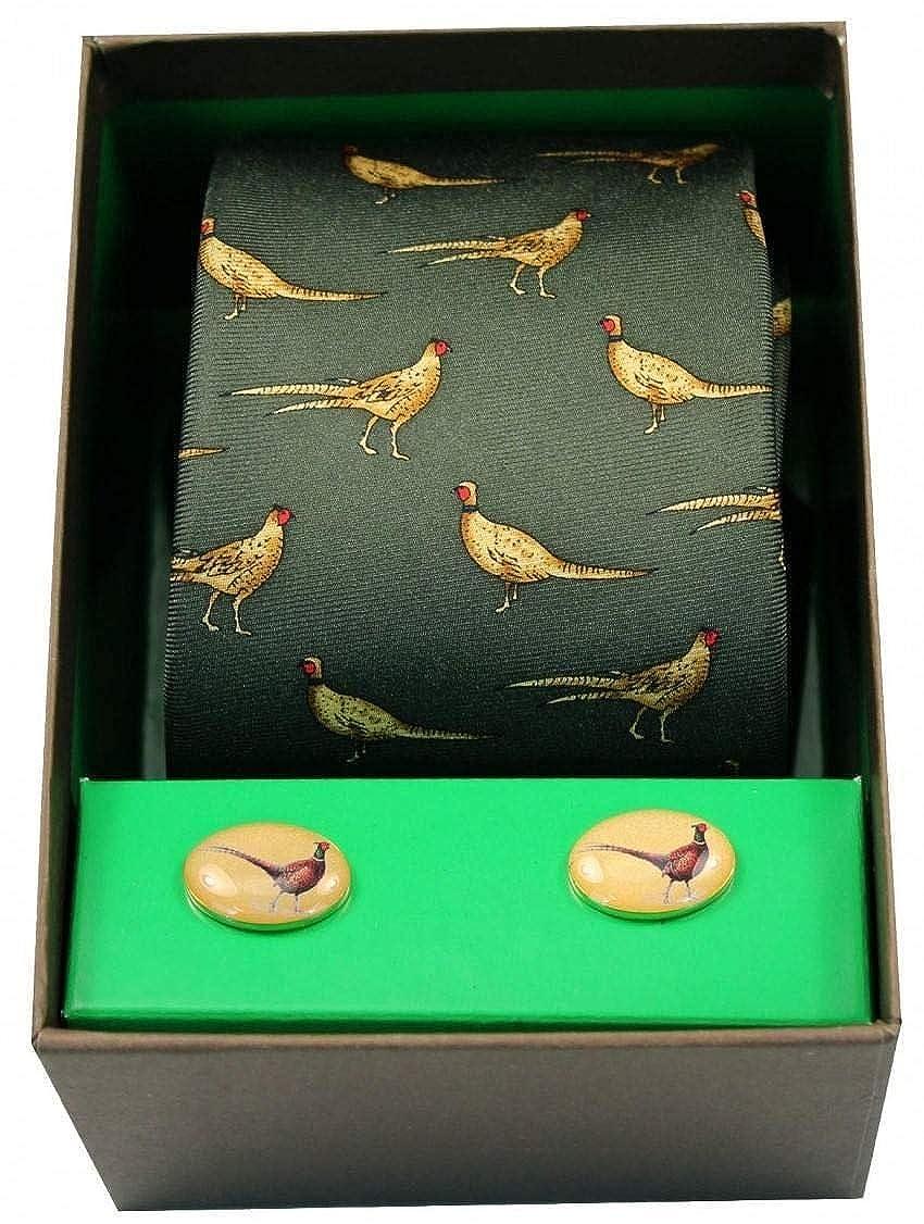 David Van Hagen Mens Standing Pheasant Tie and Cufflink Set Green