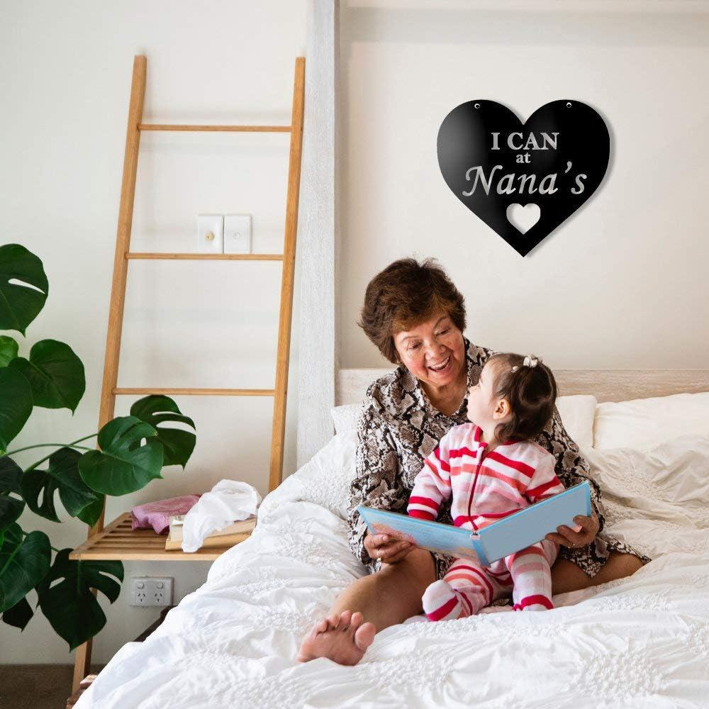Tamengi Nana Sign, I can at Nana, Nana Gift, Heart Shaped Metal Wall Art