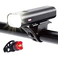 Set de luces recargables USB para bicicletas, Autonomía de 8+ Horas 400 Lumen, Faros delanteros súper brillantes y luces traseras LED rojas, modo de 4 luces, se adapta a todas las bicicletas, sean de montaña o carretera